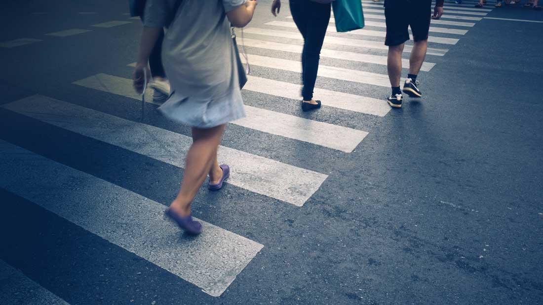 pedestrians in cross walk
